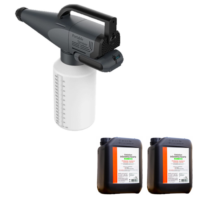 Spayer wireless + DISINFECTANT SOLUTIONS 100 % ECOLOGICAL CLEANEA 5L Foggers